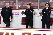Jim Logue (BC - Assistant Coach), Tom Maguire (BC - Senior Manager), Mike Cavanaugh (BC - Associate Head Coach) - The Boston College Eagles defeated the visiting University of Vermont Catamounts to sweep their quarterfinal matchup on Saturday, March 16, 2013, at Kelley Rink in Conte Forum in Chestnut Hill, Massachusetts.