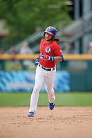 Buffalo Bisons Bo Bichette (13) rounds the bases after hitting a home run during an International League game against the Indianapolis Indians on June 20, 2019 at Sahlen Field in Buffalo, New York.  Buffalo defeated Indianapolis 11-8  (Mike Janes/Four Seam Images)