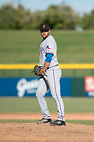 Surprise Saguaros relief pitcher Joe Kuzia (52), of the Texas Rangers organization, gets ready to deliver a pitch during an Arizona Fall League game against the Mesa Solar Sox at Sloan Park on November 1, 2018 in Mesa, Arizona. Surprise defeated Mesa 5-4 . (Zachary Lucy/Four Seam Images)