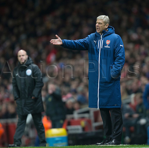 03.12.2014.  London, England. Premier League. Arsenal versus Southampton. Arsene Wenger, the Arsenal manager on the touchline.