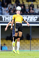 Tom Owen-Evans of Newport County gets his head on the aerial ball during Southend United vs Newport County, Caraboa Cup Football at Roots Hall on 8th August 2017