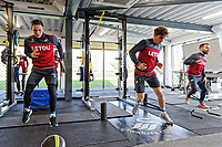 (L-R) Connor Roberts, Daniel James and Leon Britton exercise in the gym during the Swansea City Training at The Fairwood Training Ground, Swansea, Wales, UK. Tuesday 13 March 2018