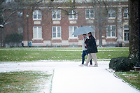 Snow Day on campus - students on Drill Field.<br />  (photo by Megan Bean / &copy; Mississippi State University)