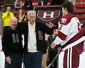 Sid Greeley (Harvard '47), Richard Greeley (Harvard '49) - The Harvard University Crimson defeated the Princeton University Tigers 3-2 on Friday, January 31, 2014, at the Bright-Landry Hockey Center in Cambridge, Massachusetts.