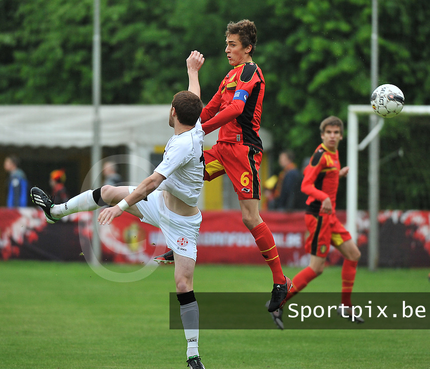Georgia U19 - Belgium U19 : Julien De Sart (6) and Budu Zivzivadze (17)<br /> foto DAVID CATRY / Nikonpro.be