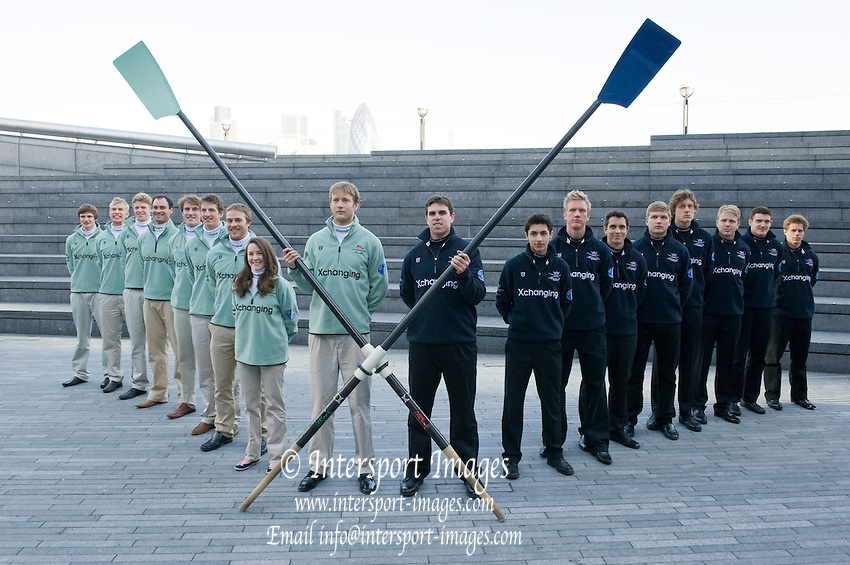 London, United kingdom.  Both Crews forming the X, for the publicity picture, before 2011 University Boat Race, Weigh-in at London's City Hall, home/office of the Mayor of London and the Greater London Authority, situated on the South Bank of the River Thames.   07/03/2011 [Mandatory Credit;Peter Spurrier/Intersport Images]..Crews ..CUBC. Bow Mike Thorp, 2 Joel Jennings, 3 Dan- Rix Standing, 4 Hardy Cubasch, 5 George Nash, 6 Geoff Roth, 7 Derek Rasmussen, Stroke David Nelson and Cox Liz Box. ..OUBC. Bow Moritz Hafner, 2 Ben Myers, 3 Alec Dent, 4 Ben Ellison, 5 Karl Hudspith, 6 Constantine Louloudis,  7 George Whittaker, Stroke Simon Hislop  and Cox Sam Winter-Levy..
