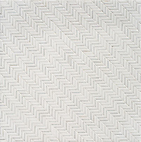 Tweed, a hand-cut tumbled mosaic, shown in Thassos and Afyon White, is part of the Tissé™ collection for New Ravenna.