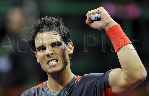 03.01.2014. Doha, Qatar.  Rafael Nadal of Spain celebrates victory after the men s singles semifinal match against Peter Gojowczyk of Germany in Qatar Open tennis tournament, Jan. 3, 2014. Nadal won 2-1.