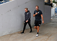 11th July 2020; The Kiyan Prince Foundation Stadium, London, England; English Championship Football, Queen Park Rangers versus Sheffield Wednesday;  Sheffield Wednesday Manager Garry Monk walking with the Sheffield Wednesday Goalkeeper Coach Nicky Weaver towards the pitch from the away tunnel before kick off