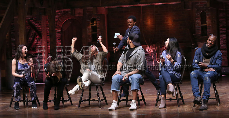 """Lexi Garcia, Elizabeth Judd, Sasha Hollinger, Sean Green, Lauren Boyd, Justin Dine Bryant and J. Quinton Johnson during the  #EduHam matinee performance Q & A for """"Hamilton"""" at the Richard Rodgers Theatre on 3/28/2018 in New York City."""