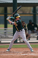 Oakland Athletics outfielder Anthony Churlin (8) at bat during a Minor League Spring Training game against the Chicago Cubs at Sloan Park on March 13, 2018 in Mesa, Arizona. (Zachary Lucy/Four Seam Images)