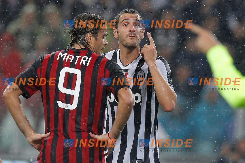 leonardo Bonucci Juventus, Alessandro Matri  Milan,<br /> Torino 06-10-2013<br /> Juventus Stadium <br /> Football Calcio 2013/2014 Serie A <br /> Juventus - Milan<br /> Foto Marco Bertorello Insidefoto