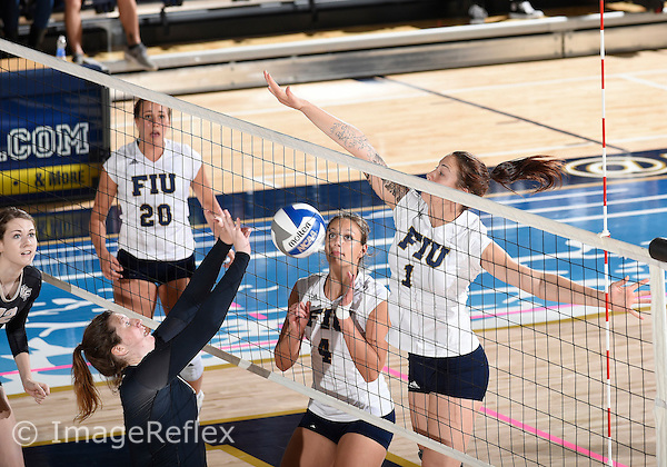 Florida International University women's volleyball middle blocker Katie Hogan (1) plays against  the University of Central Florida which won the match 3-0 on September 17, 2015 at Miami, Florida.