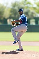 Los Angeles Dodgers starting pitcher Guillermo Zuniga (29) delivers a pitch during an Instructional League game against the Oakland Athletics at Camelback Ranch on September 27, 2018 in Glendale, Arizona. (Zachary Lucy/Four Seam Images)
