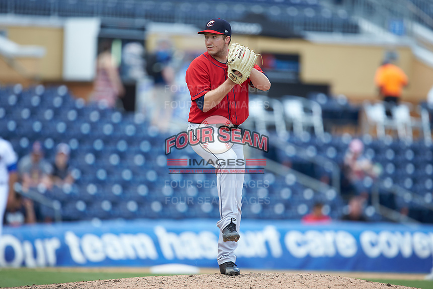 Columbus Clippers relief pitcher David Spear (35) in action against the Durham Bulls at Durham Bulls Athletic Park on June 1, 2019 in Durham, North Carolina. The Bulls defeated the Clippers 11-5 in game one of a doubleheader. (Brian Westerholt/Four Seam Images)