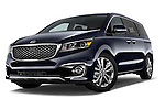 Stock pictures of low aggressive front three quarter view of a 2015 KIA Sedona SX Limited 4 Door Minivan Low Aggressive