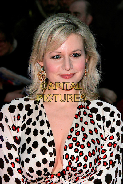 ABI TITMUSS.The Galaxy British Book Awards held at the Grosvenor Hotel, Park Lane, London, England. .April 9th 2008 .headshot portrait black red cream white spotted print cleavage black .CAP/AH.©Adam Houghton/Capital Pictures.