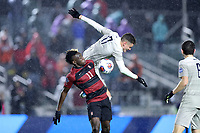 CARY, NC - DECEMBER 13: Ousseni Bouda #11 of Stanford University and Dante Polvara #17 of Georgetown University challenge for the ball during a game between Stanford and Georgetown at Sahlen's Stadium at WakeMed Soccer Park on December 13, 2019 in Cary, North Carolina.