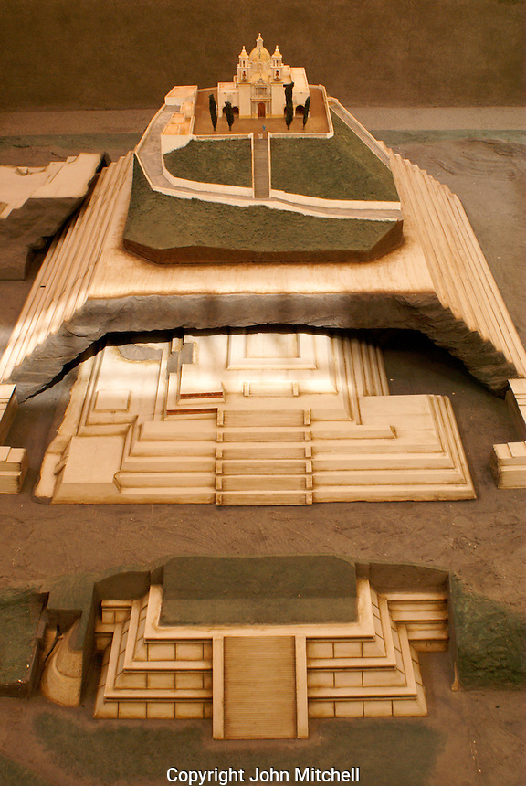 Model of Tapaneca Pyramid and Santuario de Nuestra Senora de los Remedios church in the archaeological museum in Cholula, Puebla, Mexico. Cholula is a UNESCO World Heritage Site.