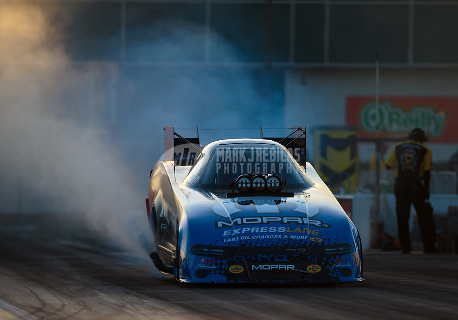 Mar 15, 2019; Gainesville, FL, USA; NHRA funny car driver Matt Hagan during qualifying for the Gatornationals at Gainesville Raceway. Mandatory Credit: Mark J. Rebilas-USA TODAY Sports