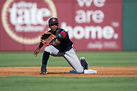 Gwinnett Braves shortstop Ozzie Albies (1) waits for a throw at second base during the game against the Charlotte Knights at BB&T BallPark on July 16, 2017 in Charlotte, North Carolina.  The Knights defeated the Braves 5-4.  (Brian Westerholt/Four Seam Images)