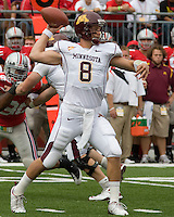 September 27, 2008: Minnesota quarterback Adam Weber (8). The Ohio State Buckeyes defeated the Minnesota Gophers 34-21 on September 27, 2008 at Ohio Stadium, Columbus, Ohio.