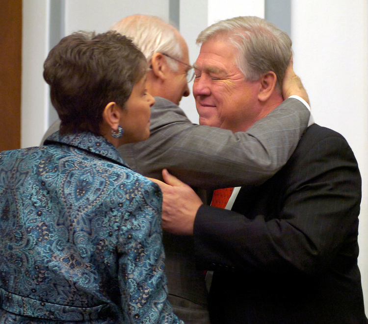 Gov. Haley Barbour, R-Miss., gets a hug from Rep. Chris Shays, R-Conn., before the Governor and other officials from Mississippi testified at a Select Bipartisan Committee to Investigate the Preparation for and Response to Hurricane Katrina.  Rep. Sue Myrick, R-N.C., appears at left.