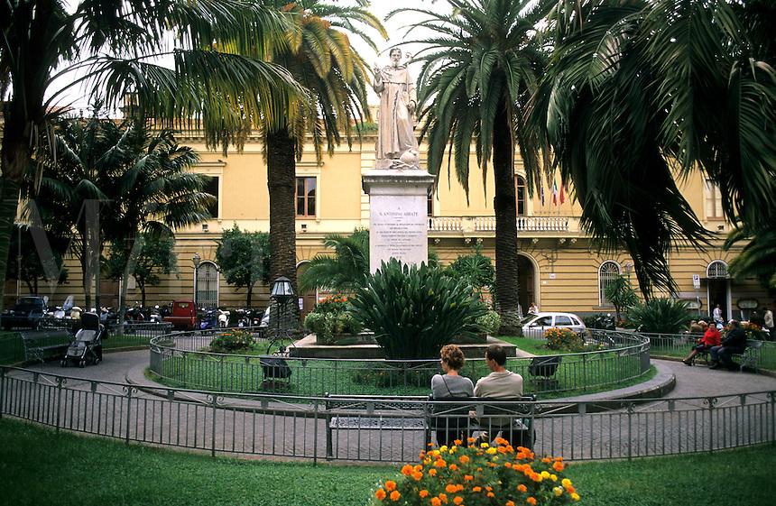 Plazza St Antonio Statue of St Antonio in coastal village of Sorrento Ital