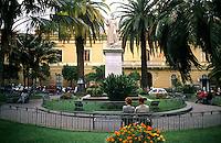 Plazza St Antonio Statue of St Antonio in coastal village of Sorrento Ital