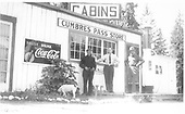 Close front view of Cumbres Post Office, signs, gas pump.<br /> D&amp;RG  Cumbres, CO  Taken by Lively, Charles R. - ca. 1915-1920