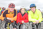 CHARITY CYCLE: Enjoying the fun at the Kingdom Care Charity Shop Cycle at Tralee Mart on Saturday l-r: Vincent Sheahan and Pat and Padraig Leane, Killarney.