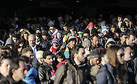 Pictured: Thousands of migrants disembark to the port of Piraeus Monday 22 February 2016<br /> Re: Thousands of migrants, most from Syria, have landed to the port of Pireaus, after crossing the border from Turkey to various islands like Lesvos and Kos in Greece.