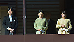 January 2, 2014, Tokyo, Japan - Prince Akishino, Emperor Akihito's second son, and his wife, Princess Kiko, center, and their daughter, Princess Mako, appear on the Imperial Palace balcony during a New Year's general audience in Tokyo on Thursday, January 2, 2014. More than 80,000 well-wishers turned out to celebrate the coming of the new year with the imprerial family who made five appearances on the palace balcony. (Photo by Natsuki Sakai/AFLO) AYF -mis-