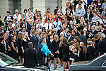"""Vicki Kennedy (center), the widow of former U.S. Senator Edward """"Teddy"""" Kennedy, is accompanied by members of the Kennedy family in front of the U.S. Senate in Washington, D.C. on August 29, 2009.  The Kennedy family stopped briefly in front of the U.S. Capitol to thank his legislative aids and fellow legislators for their partnership during his years in the U.S. Senate in addition to a moment for prayer and remembrance en route to Arlington National Cemetery in Arlington, Va."""