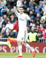 Real Madrid's James Rodriguez celebrates goal during La Liga match.January 31,2015. (ALTERPHOTOS/Acero) /NortePhoto<br /> /NortePhoto.com