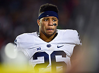 College Park, MD - NOV 25, 2017: Penn State Nittany Lions running back Saquon Barkley (26) on the sideline during game between Maryland and Penn State at Capital One Field at Maryland Stadium in College Park, MD. (Photo by Phil Peters/Media Images International)