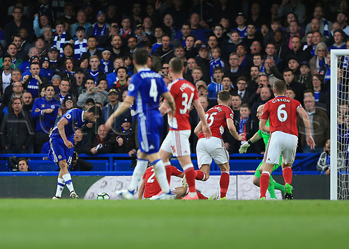 May 8th 2017, Stamford Bridge, Chelsea, London England; EPL Premier League football, Chelsea FC versus Middlesbrough; Diego Costa of Chelsea shoots to score his sides 1st goal in the 21st minute to make it 1-0