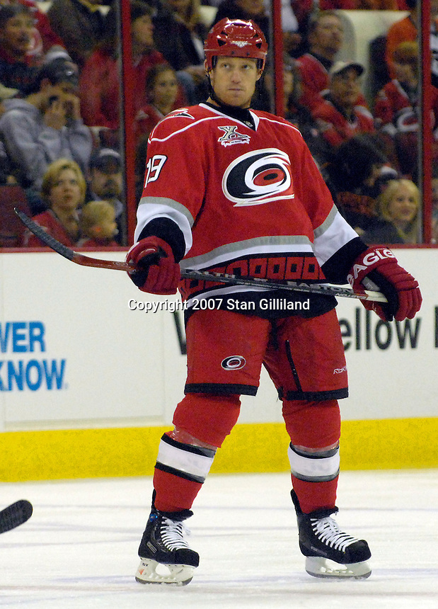 The Carolina Hurricanes' Trevor Letowski relaxes prior to a faceoff against the Philadelphia Flyers during their game Wednesday, Nov. 21, 2007 in Raleigh, NC. The Flyers won 6-3.