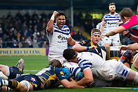 Cooper Vuna of Bath Rugby celebrates a try from team-mate Zach Mercer. Gallagher Premiership match, between Worcester Warriors and Bath Rugby on January 5, 2019 at Sixways Stadium in Worcester, England. Photo by: Patrick Khachfe / Onside Images