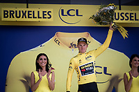 Mike Teunissen (NED/Jumbo-Visma) receiving his 2nd yellow jersey<br /> <br /> Stage 2 (TTT): Brussels to Brussels (BEL/28km) <br /> 106th Tour de France 2019 (2.UWT)<br /> <br /> ©kramon