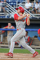 Williamsport Crosscutters third baseman Zach Green (12) during a game against the Batavia Muckdogs on August 16, 2013 at Dwyer Stadium in Batavia, New York.  Batavia defeated Williamsport 5-2.  (Mike Janes/Four Seam Images)