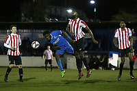 Johnson Santos of Clapton and Reside Coxi-Sebatfao of Redbridge during Redbridge vs Clapton, Essex Senior League Football at Oakside Stadium on 14th November 2017