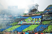 SEATTLE, WA - NOVEMBER 10: Seattle fans tifo during a game between Toronto FC and Seattle Sounders FC at CenturyLink Field on November 10, 2019 in Seattle, Washington.