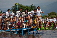 Local villagers compete during the annual leg-rowing races on Inle Lake,Burma Myanmar