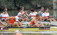 Ottensheim, AUSTRIA.  A  Final,  GER JM4X, gold medallist,  left Fabian WEILER, and Hurbet TRZYBINSKI congratulate each other after winning the gold medal for Junior Quads, at the 2008 FISA Senior and Junior Rowing Championships,  Linz/Ottensheim. Saturday,  26/07/2008.  [Mandatory Credit: Peter SPURRIER, Intersport Images] Rowing Course: Linz/ Ottensheim, Austria
