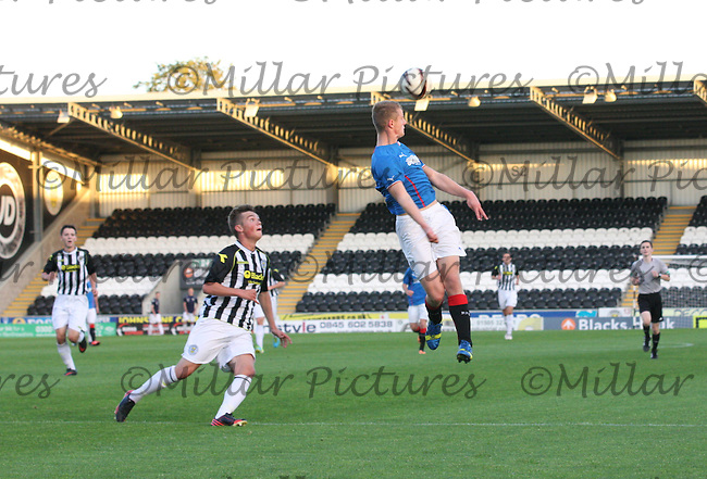 Greg Pascazio wins the header watched by Thomas Reilly in the St Mirren v Rangers Scottish Professional Football League Under 20 match played at St Mirren Park, Paisley on 10.9.13.