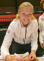 The Netherlands, Den Bosch, 16.04.2014. Fed Cup Netherlands-Japan, Team Netherlands, Michaella Krajicek  signing autographs on posters<br /> Photo:Tennisimages/Henk Koster