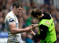 Exeter Chiefs' Ian Whitten receives treatment<br /> <br /> Photographer Bob Bradford/CameraSport<br /> <br /> Aviva Premiership Round 20 - London Irish v Exeter Chiefs - Sunday 15th April 2018 - Madejski Stadium - Reading<br /> <br /> World Copyright &copy; 2018 CameraSport. All rights reserved. 43 Linden Ave. Countesthorpe. Leicester. England. LE8 5PG - Tel: +44 (0) 116 277 4147 - admin@camerasport.com - www.camerasport.com