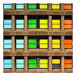 Colourful windows in a modern building