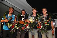 ZEILSPORT: LEMMER: 26-08-2017, IFKS Sk&ucirc;tsjesilen huldiging, <br /> v.l.nr.  C klasse Gerrit Huisman (sk&ucirc;tsje Ut 'e strijd), a klasse klein Pieter Jilles Tjoelker ( Engelina Smeltekop) - A klasse Merijn Olsthoorn ( sk&ucirc;tsje Emanuel), B klasse Fonger Talsma (sk&ucirc;tsje Jonge Jan), &copy;foto Martin de Jong